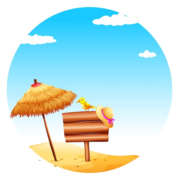 An empty signboard at the beach Free Vector