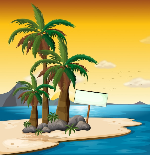 An empty signboard near the palm trees at the shore Free Vector
