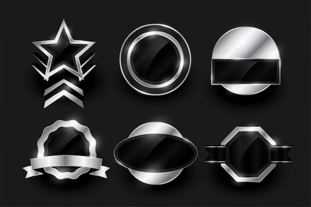 Empty silver label and badges collection Free Vector