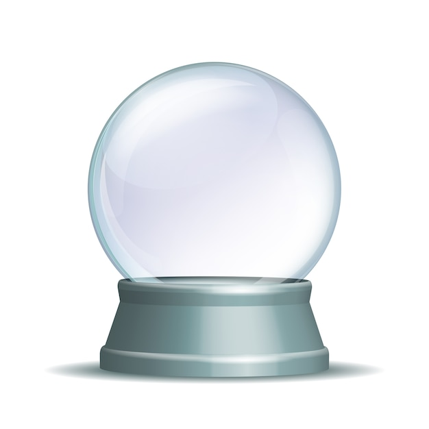 Пустой снежный шар. волшебный стеклянный шар на светло-сером постаменте на белом. иллюстрация eps 10 Premium векторы