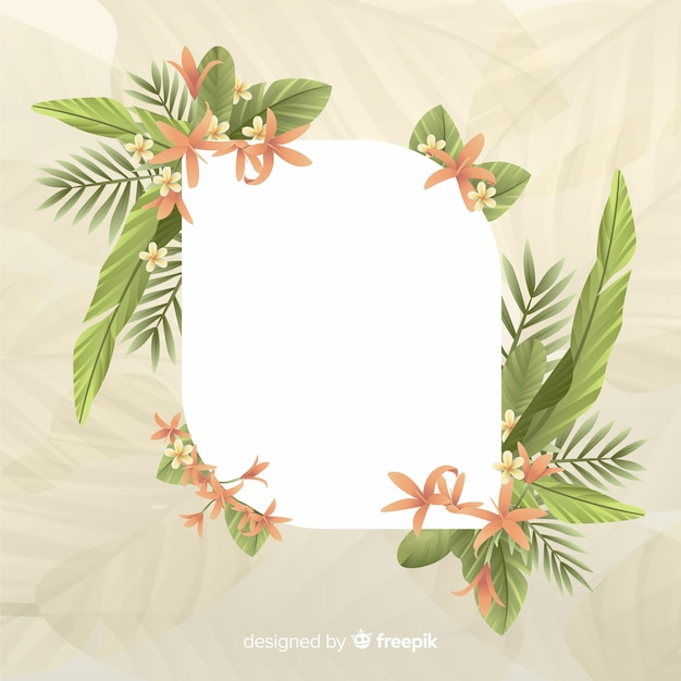 Empty space with cute frame with leaves Free Vector