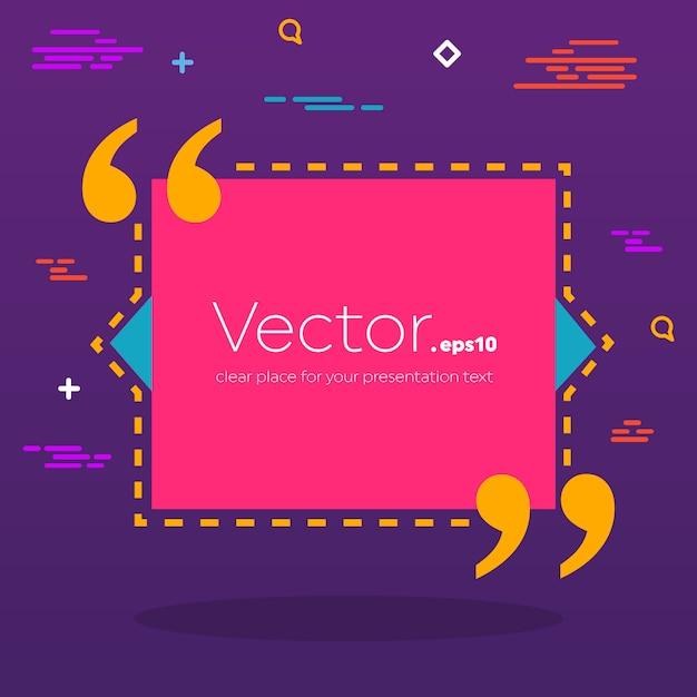 Empty speech square quote text bubble. Premium Vector