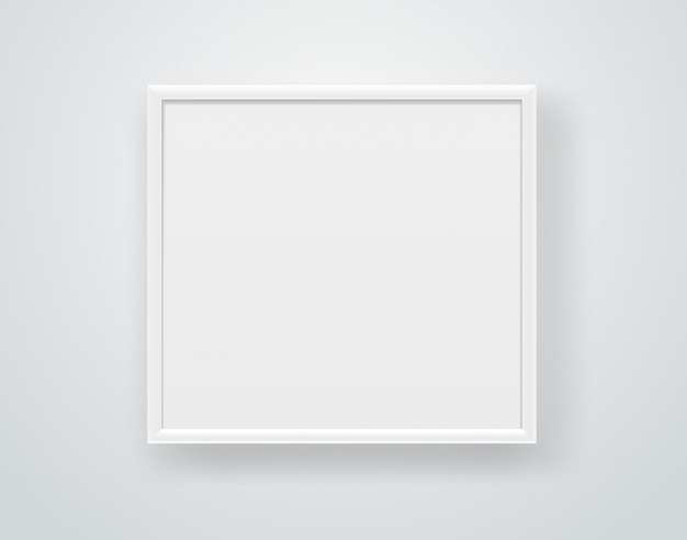 Empty square white frame on a wall. Premium Vector