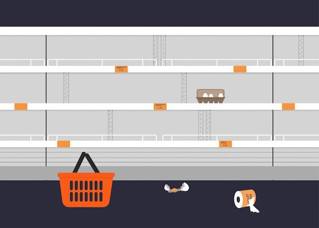 Пустые полки магазинов. Premium векторы