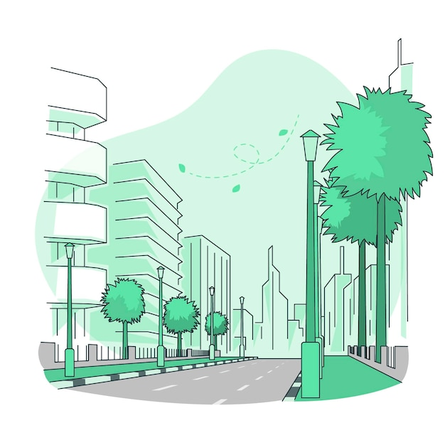 Empty street concept illustration Free Vector