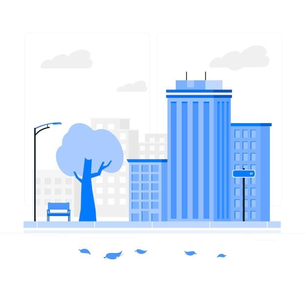 空の通りの概念図 無料ベクター