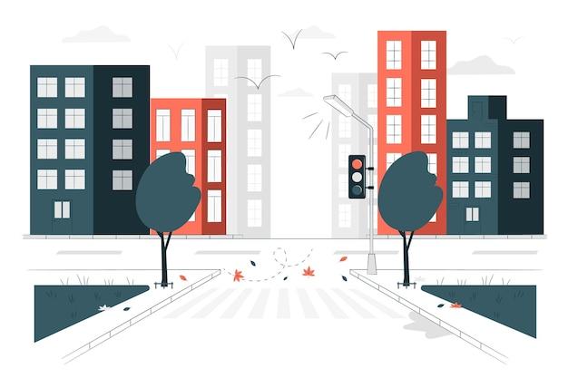 Empty streetconcept illustration Free Vector