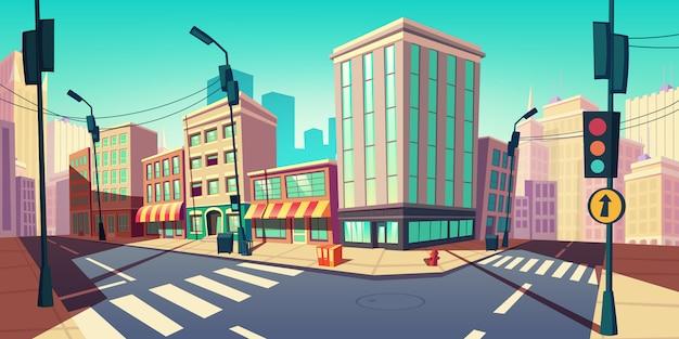 Empty street with transport highway cartoon illustration Free Vector