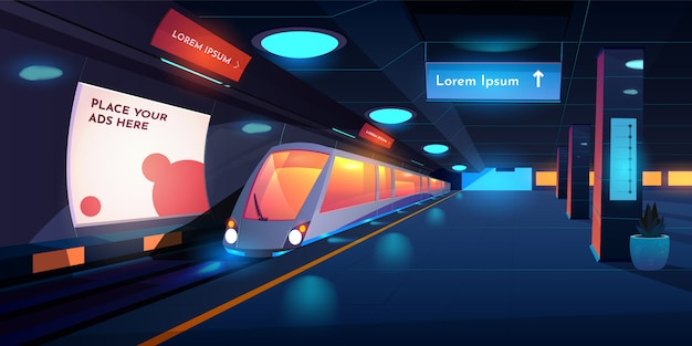 Empty subway platform with glowing lamps, map and ads banners Free Vector
