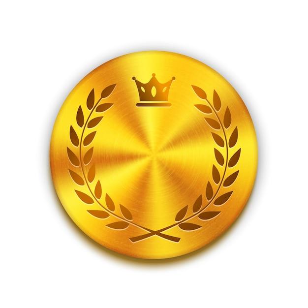 Пустая текстурированная золотая металлическая кнопка с короной и венком. шаблон для дизайна логотипа, значка или кнопки. векторная иллюстрация Бесплатные векторы