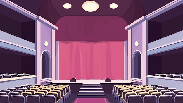 Empty theater hall. stage with curtain. Premium Vector