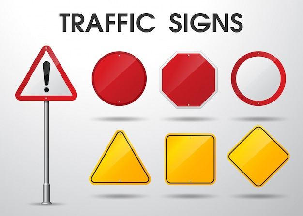 Empty traffic signs isolated Premium Vector
