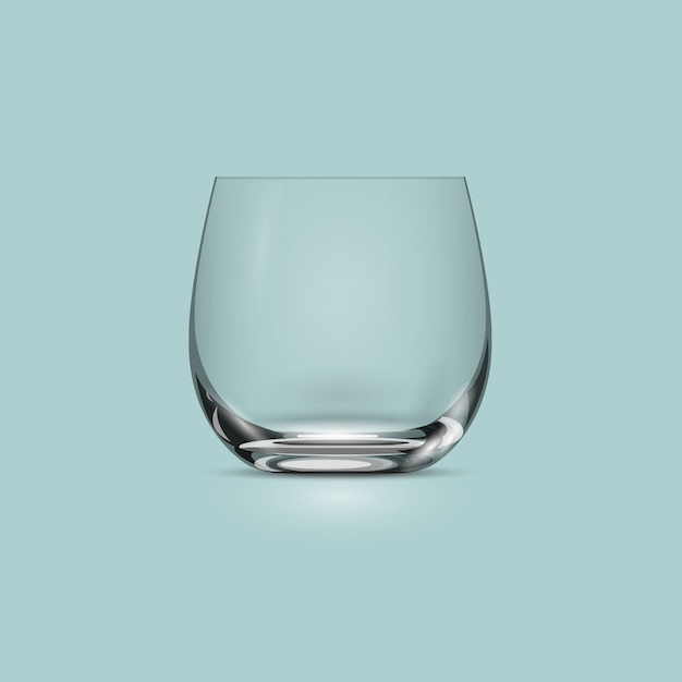 Empty transparent drinking glass cup Premium Vector