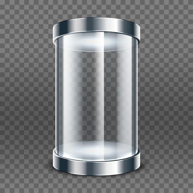 투명 한 배경에 고립 된 빈 투명 유리 실린더입니다. 라운드 쇼케이스. 투명 디스플레이 박스 전시 프리미엄 벡터