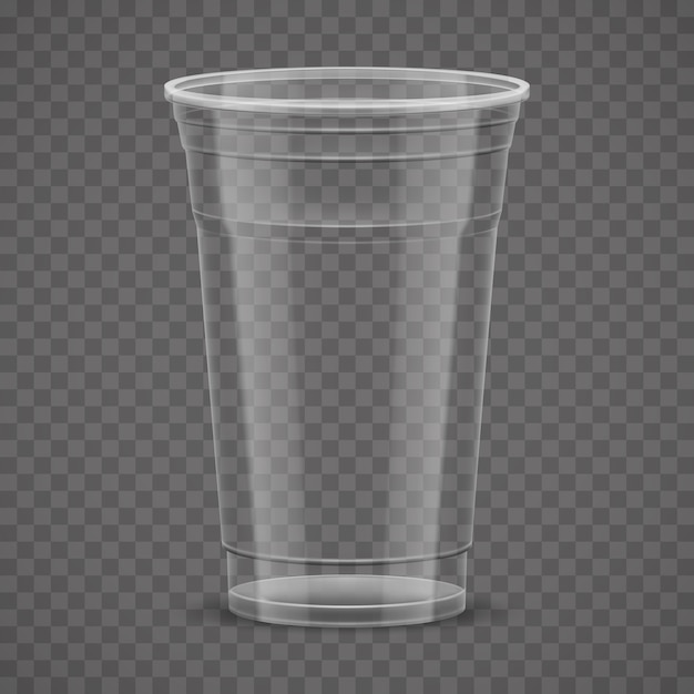 Empty transparent plastic takeaway cup isolated Premium Vector