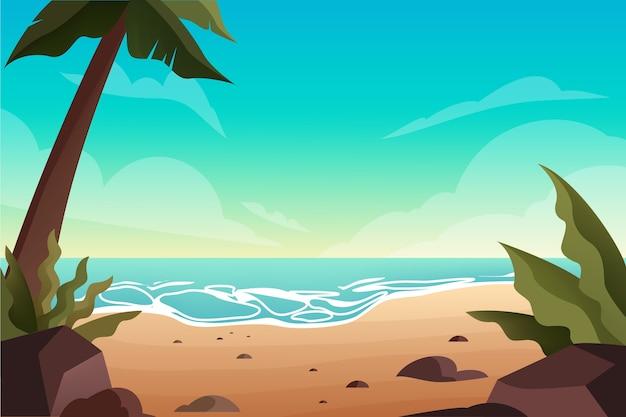 Пустой тропический пляж с пальмами. океанский пейзаж. летние каникулы на тропическом острове. Premium векторы
