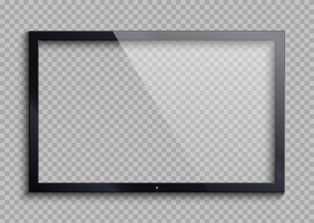 Empty tv frame with reflection and transparency screen isolated. lcd monitor vector illustration Premium Vector