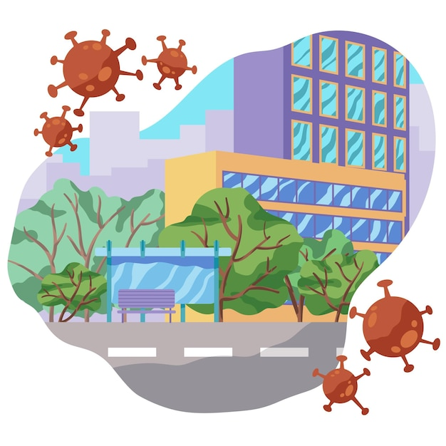 Empty urban streets because of pandemic virus Free Vector