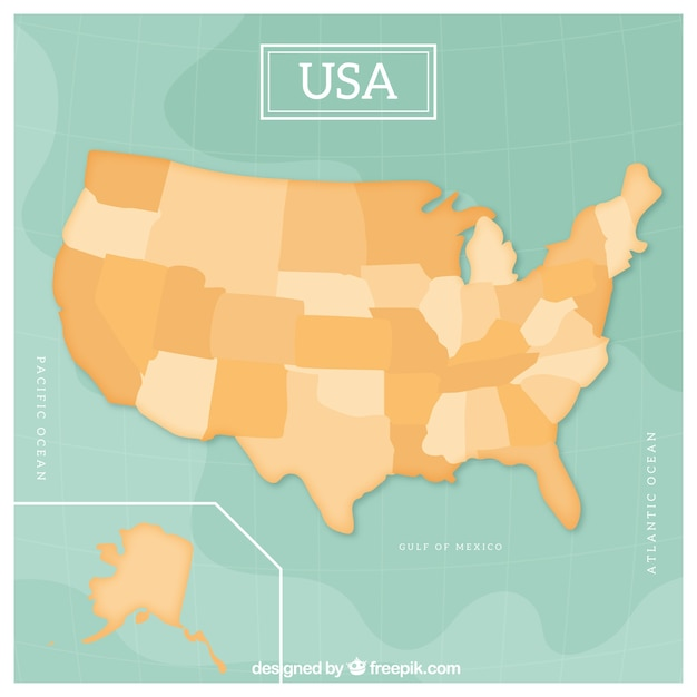 Empty Usa Map Design Vector Free Download - Usa map design