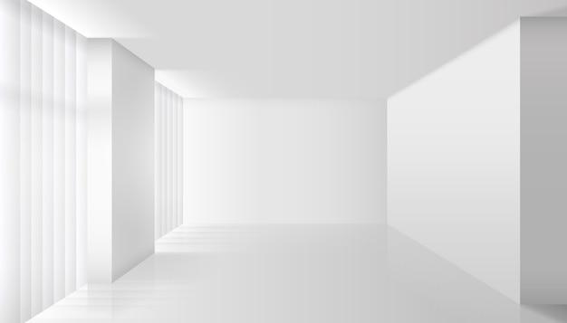 Interno bianco di vettore vuoto. parete e pavimento, appartamento chiaro, design e stile minimalista Vettore gratuito
