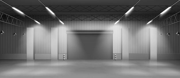 Empty warehouse hangar interior realistic vector Free Vector