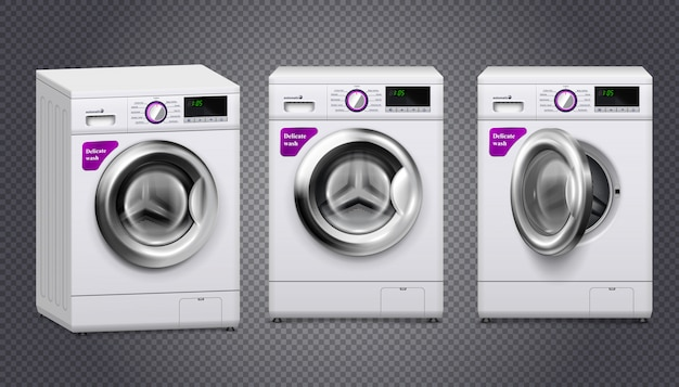 Empty washing machines in white and silver color set isolated on transparent Free Vector