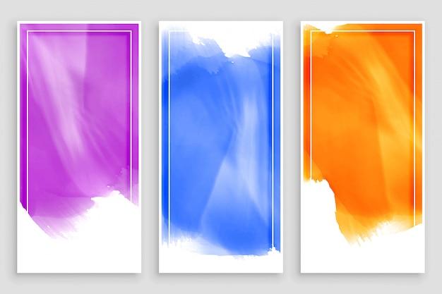 Empty watercolor banners  set design Free Vector
