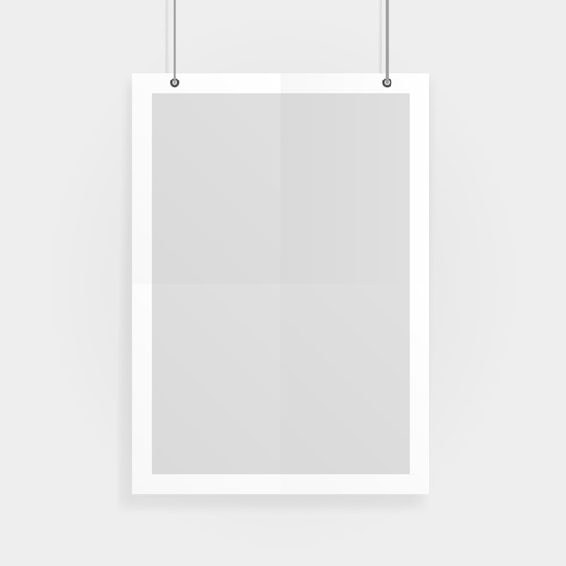 Пустой белый a4 размер вектор макет бумаги висит с скрепки. покажите свои листовки, брошюры, заголовки и т. д. с этим очень подробным реалистичным элементом шаблона дизайна Premium векторы