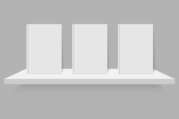 Empty white book on shelf Premium Vector