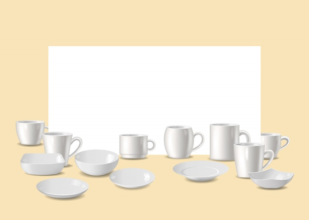Empty white dishware,  utensil for bar or restaurant Premium Vector