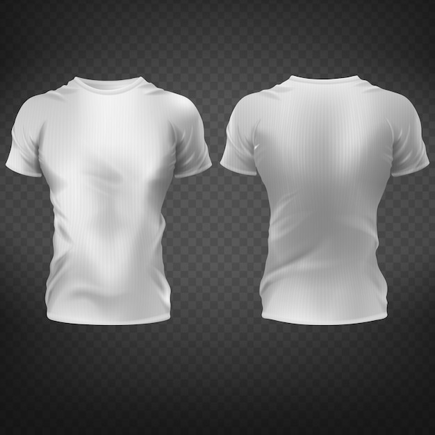 Empty white fitting t-shirt with muscular mens torso silhouette front, back view Free Vector