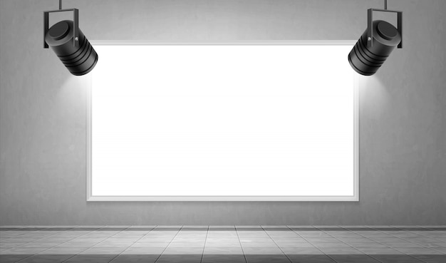 Empty white frame and hanging spotlights in museum Free Vector