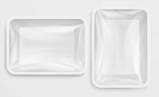 Empty white plastic box food container Premium Vector
