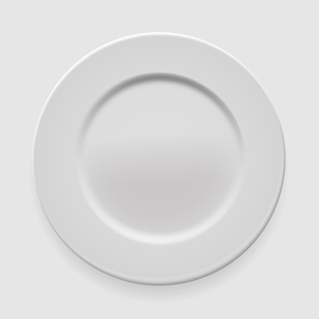 Empty white round plate on light background for your design Premium Vector