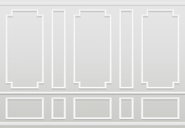 Premium Vector Empty White Wall Moulding Panels Classic Home Decoration Living Room Vector Interior