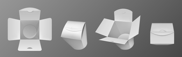 Пустая белая коробка вок, бумажная упаковка для китайской еды, лапши или риса с курицей. Бесплатные векторы