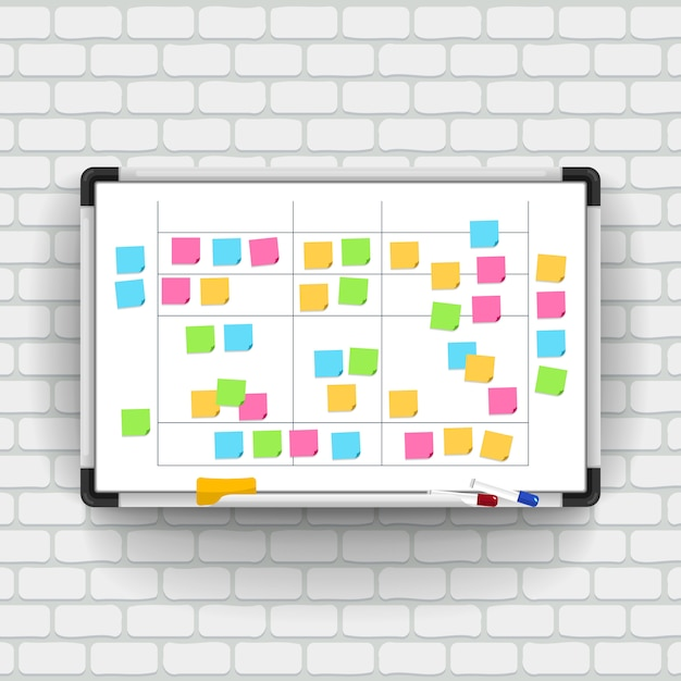 Empty whiteboard with marker pens and note paper. Premium Vector