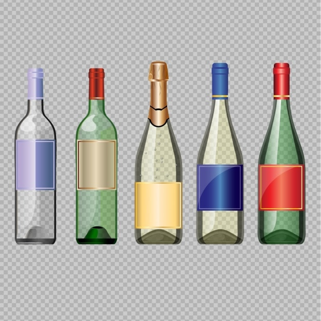 Empty wine bottles Free Vector