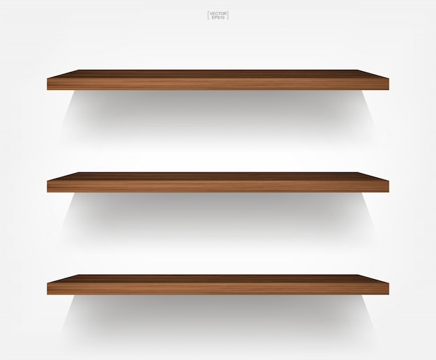 Empty wood shelf on white background with soft shadow. Premium Vector