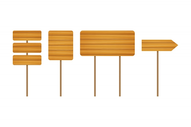 Empty wooden banners and road signs. wood signboards collection Premium Vector