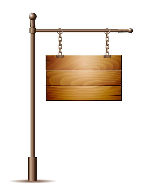 Empty wooden board sign hanging on a chain Premium Vector