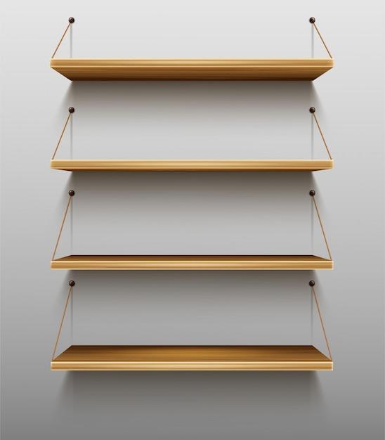 Пустые деревянные книжные полки на настенных полках для книг Бесплатные векторы