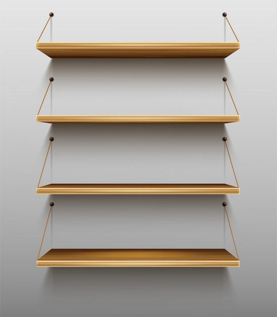 Empty wooden bookshelves on wall shelves for books Free Vector