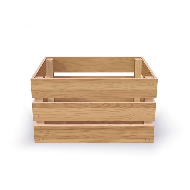 Empty wooden crate Premium Vector