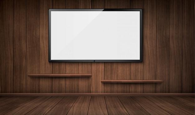 テレビ画面と本棚と空の木造の部屋 無料ベクター