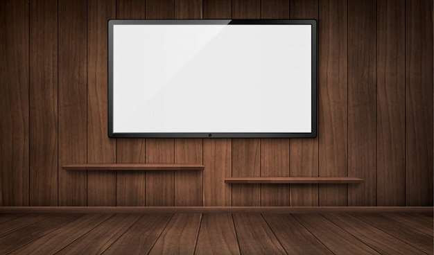 Empty wooden room with tv screen and bookshelves Free Vector