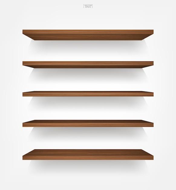 Пустая деревянная полка на белом фоне с мягкой тенью Premium векторы