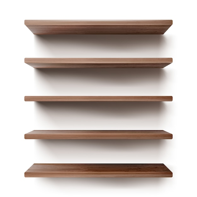 Empty wooden shelves on white wall Free Vector