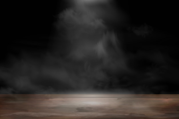 Empty wooden table with smoke float up on dark background. old wood table with spotlight and smoke in the studio room for present product. Premium Vector