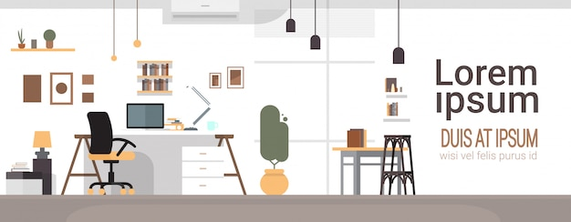 Empty workplace, desk chair computer workspace office no people Premium Vector